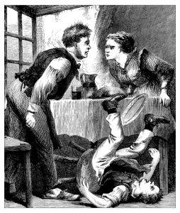 Antique illustration of domestic scene